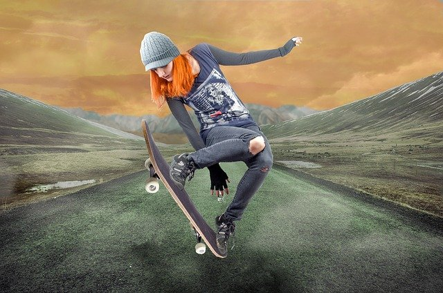 A man doing a trick on a skate board